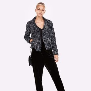 Metallic Boucle Moto Jacket | Express NEW Tweed